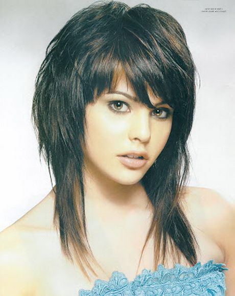 Choppy Shoulder Length Hairstyles With Bangs Layered Haircuts
