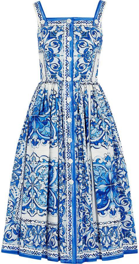 187e31f2da Dolce & Gabbana Printed Cotton-Poplin Midi Dress, Fashion, Blue Majolica,  h-a-l-e.com #SummerBlue