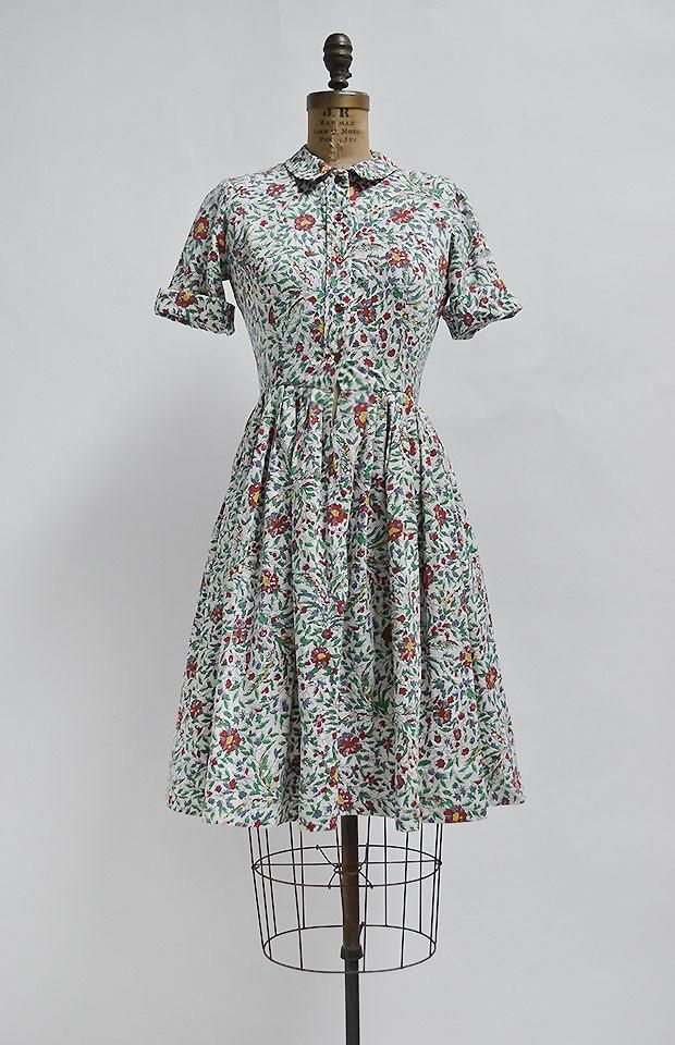 Les Jardins Dress Vintage Floral Dress Vintage Cotton Day Dress Vintage Dresses 1960s Fashion Vintage Dresses