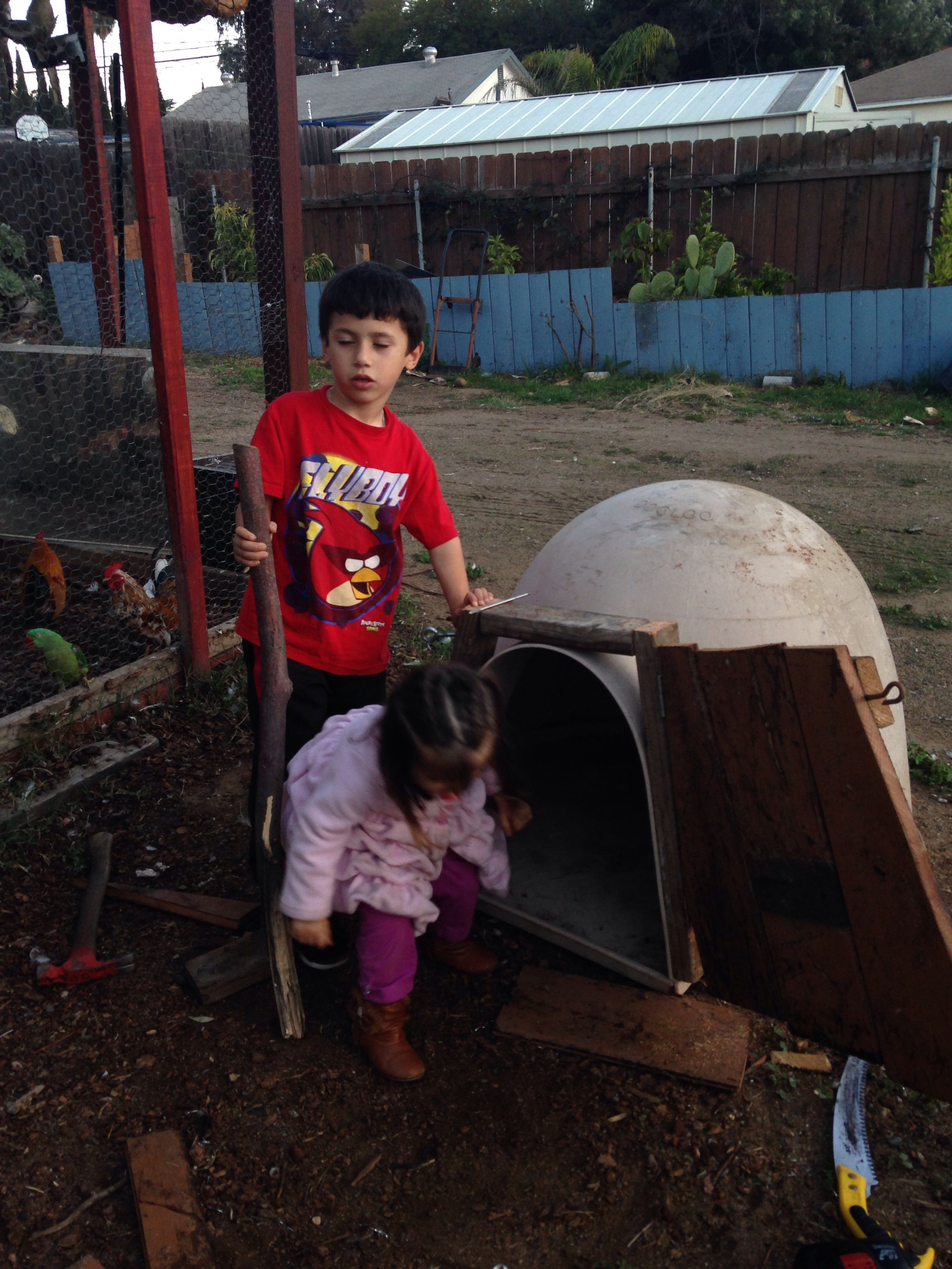 Repurposed Igloo Dog House Added A Hinged Door For Roosters And