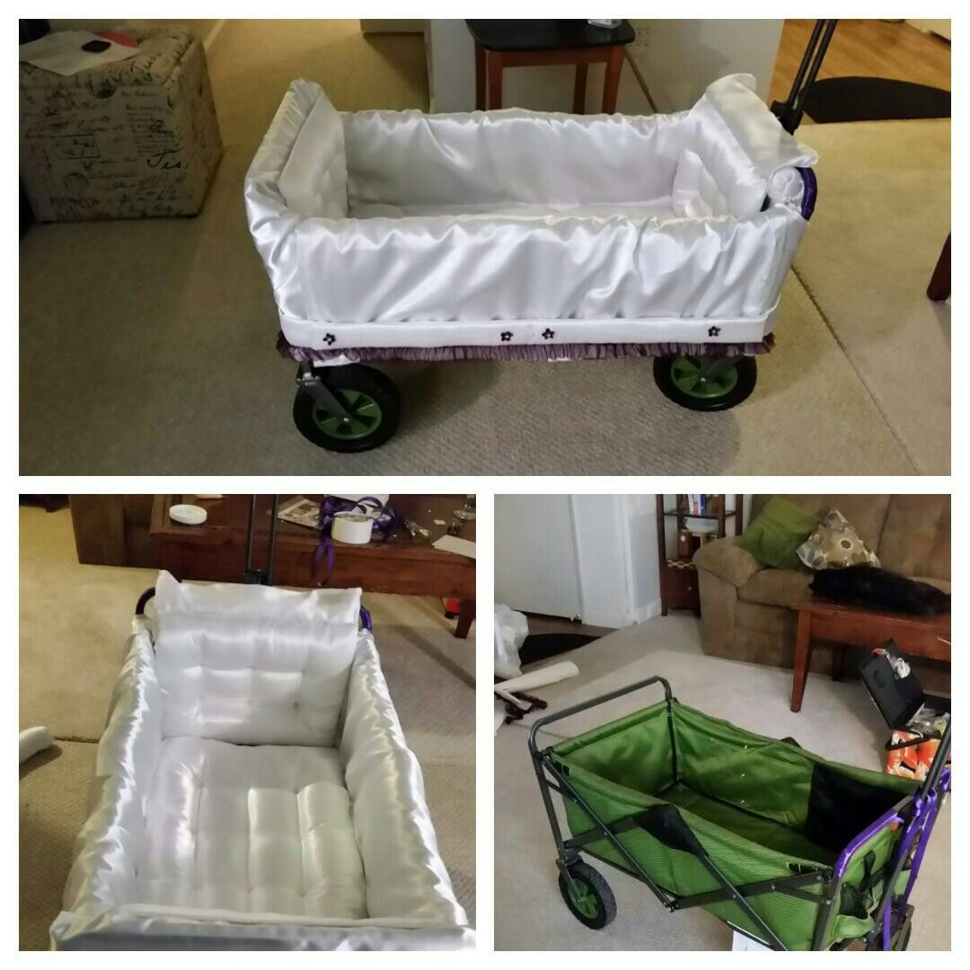 Wagon for tanya us wedding to get the babies down the isle