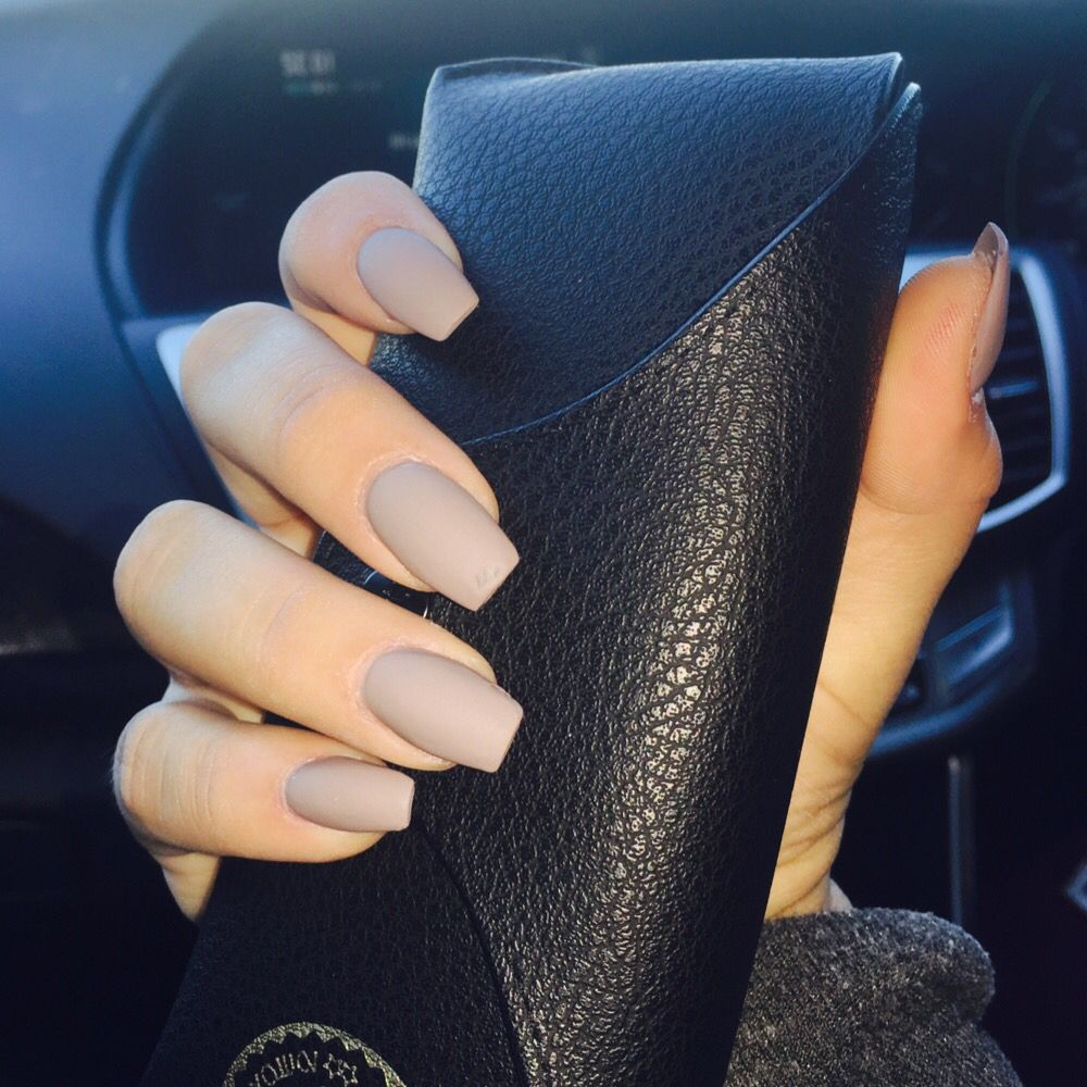 Matte nude colored coffin shape acrylic nails | Nails ...