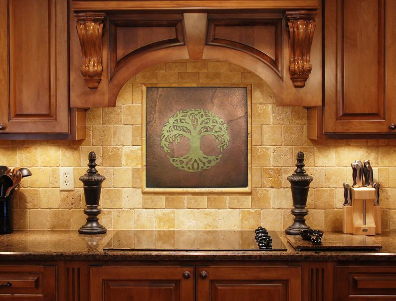 Tree Of Life Backsplash Tile Copper Backsplash Tile Tree Of Etsy In 2020 Kitchen Backsplash Metal Backsplash Kitchen Hacienda Style Kitchen