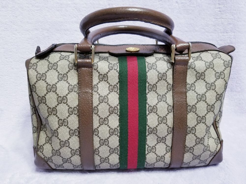 22e31afc823686 GUCCI Vintage Brown GG Monogram Red Green Striped Satchel Doctors Vinyl  Hand Bag #fashion #clothing #shoes #accessories #womensbagshandbags (ebay  link)