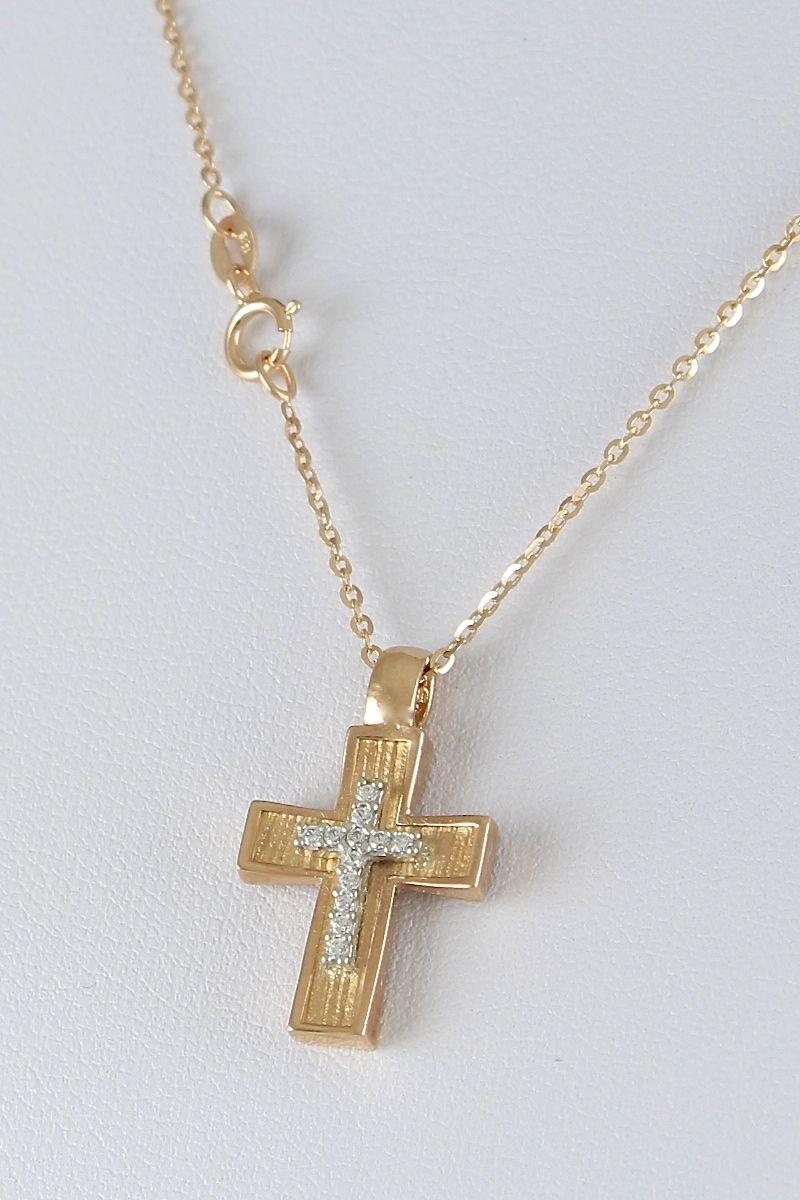 Βαπτιστικός σταυρός με αλυσίδα σε ροζ χρυσό με ζιργκόν 44a36c9fe05