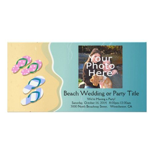 Cruise Ship Save the Date His/Hers Flip Flops on the Beach Wedding Card