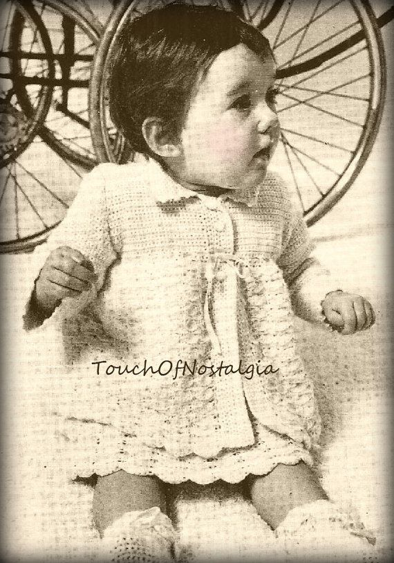 HEIRLOOM Baby DRESS Set Crochet Pattern Incl by touchofnostalgia7 ...