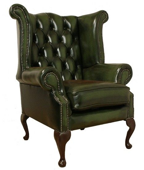 Rub Off Antique Green Chesterfield Queen Anne High Back Wing Chair Designersofas4u Green Leather Chair Leather Wing Chair Wingback Chair