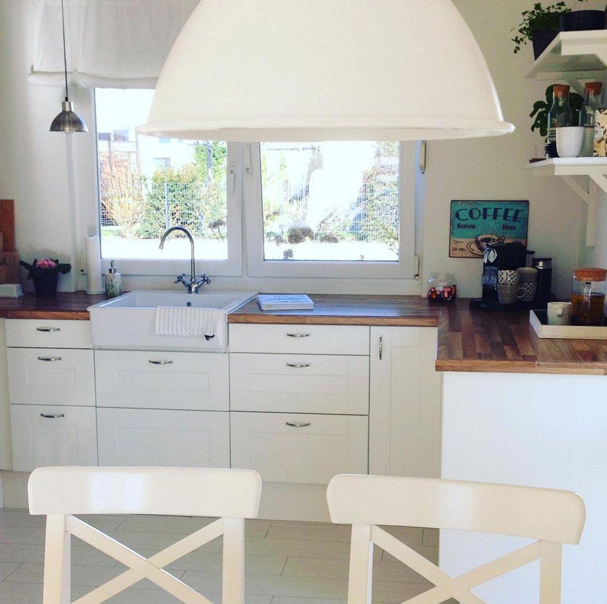 holzarbeitsplatte-weisse-kueche | Wohnen, Weisse küche ...