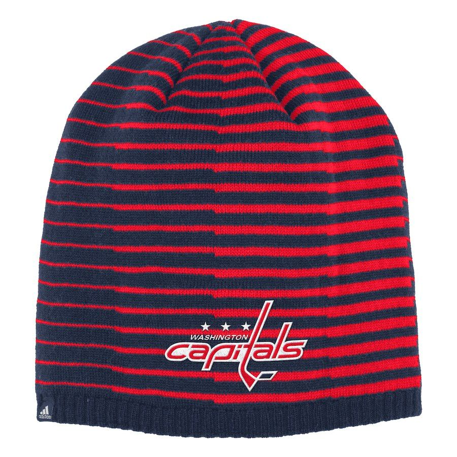 8360299d8ac Men s Washington Capitals adidas Navy Red Pattern Knit Beanie