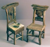 GEORGE C. CLARK Miniature Rustic Twig Furniture   I Want Full Sized Chairs  Like This In The Zen Garden
