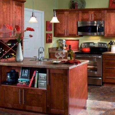 Home Decorators Collection Kingsbridge Assembled 24x36x12 In Single Door Hinge Left Wall Kitchen Angle Cabinet In Cabernet Wa2436l Kcb The Home Depot Brown Kitchen Cabinets Home Decorators Collection Kitchen Cabinet Colors
