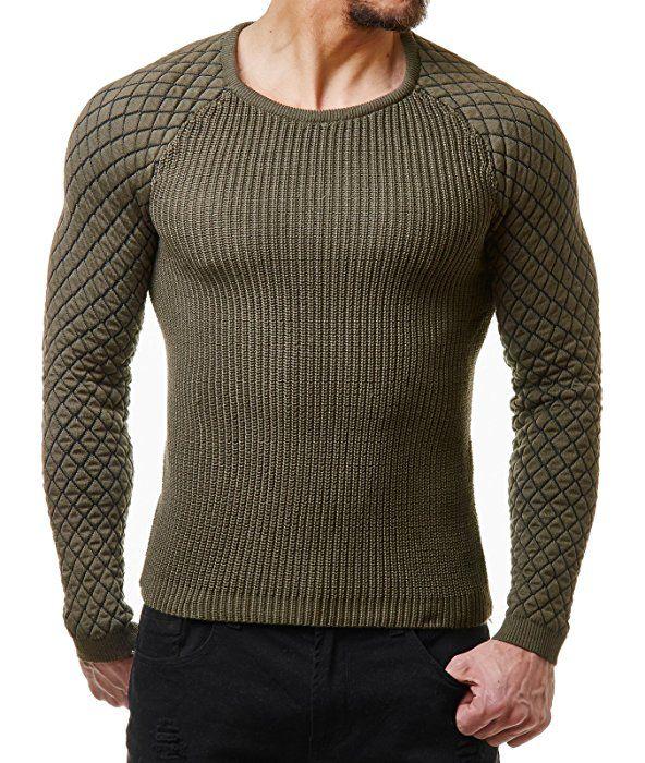 EightyFive Herren Winter Strick Pullover Slim Fit Netz Schwarz Weiß Rot  EF1746, Größe M c4ff030753
