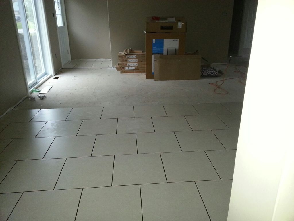 24x24 neutral kitchen floor tile staggered just laid no grout 24x24 neutral kitchen floor tile staggered dailygadgetfo Images