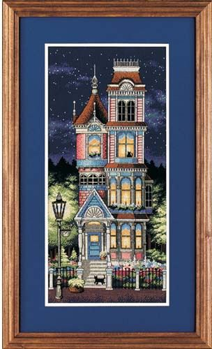 Dimensions Cross Stitch Pattern -Victorian House with cats