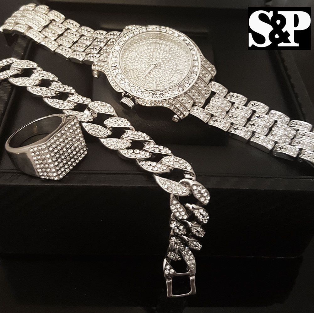 Rings men hip hop iced out rapper cz watch and stainless