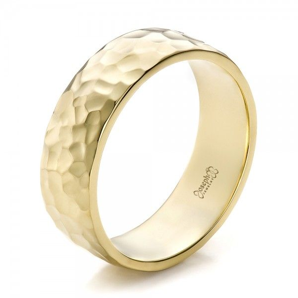Custom Mens Hammered Yellow Gold Wedding Band