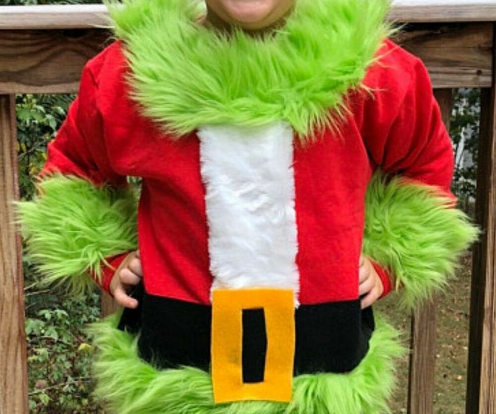 Pin on Green fur santa grinch ugly Christmas sweater winner