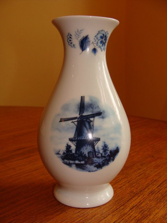 Vintage Delft Blauw Blue Windmill Pattern by ElodieVintageHome, $16.00