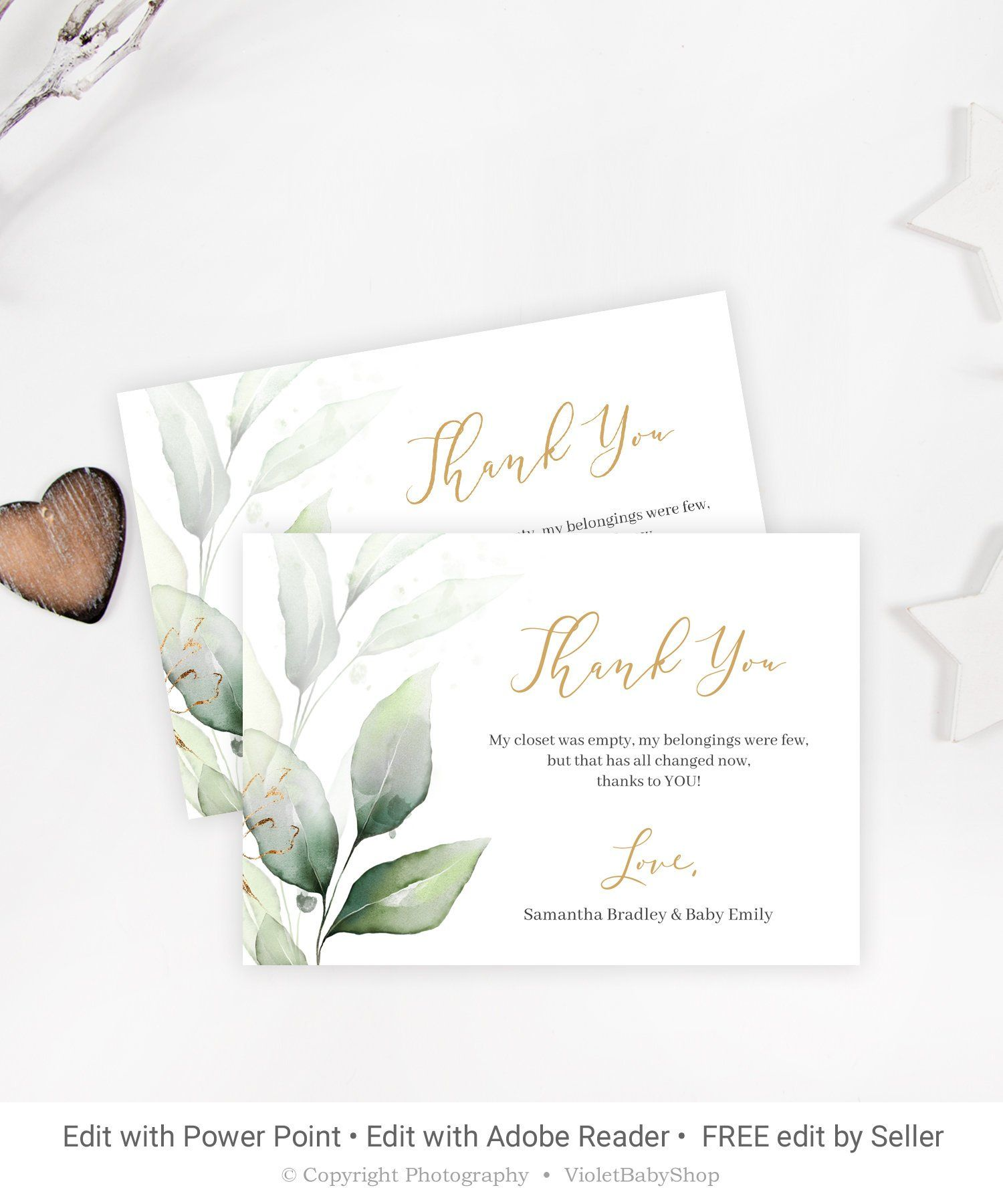 Editable Baby Shower Thank You Card Printable Greenery Thank You Card Gold Thank Yo Baby Shower Thank You Cards Thank You Card Template Baby Shower Thank You