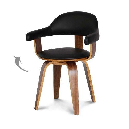 Chaise Design Scandinave Rotative Noire Pyoriva Chaise Suedoise Chaise Design Simili Cuir