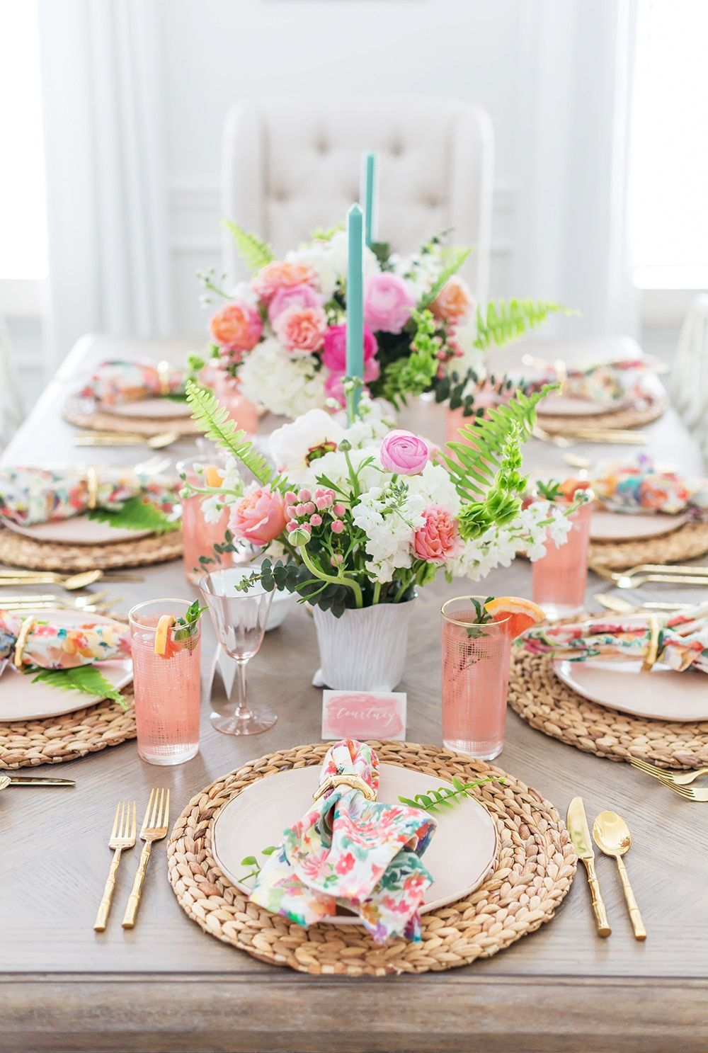 Floral And Fern Summer Tablescape Spring Table Decor Spring