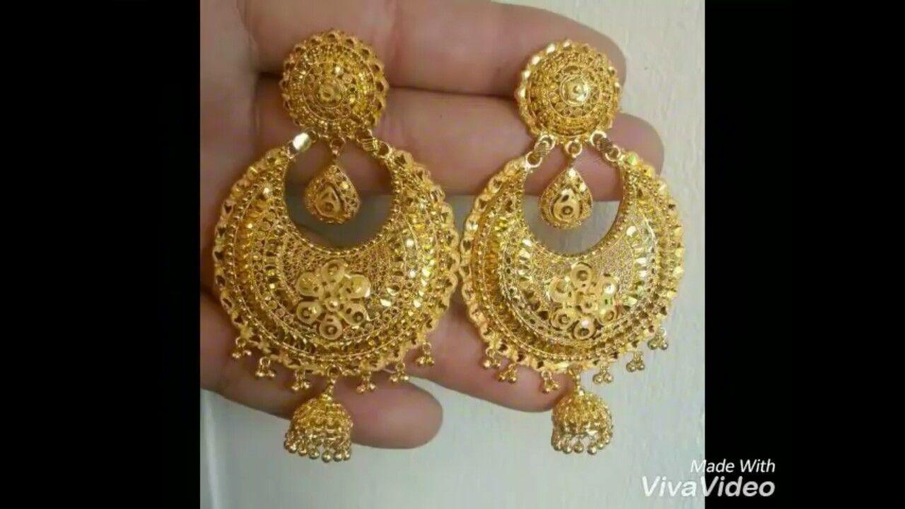 Pin By Rashmi Shrestha On Earring Bridal Gold Jewellery Designs Gold Earrings Designs Bridal Gold Jewellery
