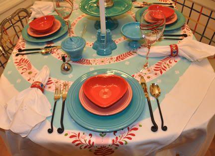 Kitsh table setting using Fiestaware | Home Sweet Home | Pinterest ...