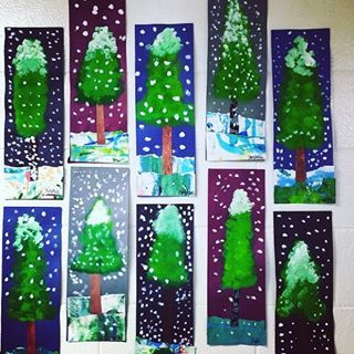 Need A Snow Day Try Creating These Fun Alpine Trees Blog Post With Video Too Now On The Blog Artteacher Christmas Art Winter Art Lesson Pine Tree Art