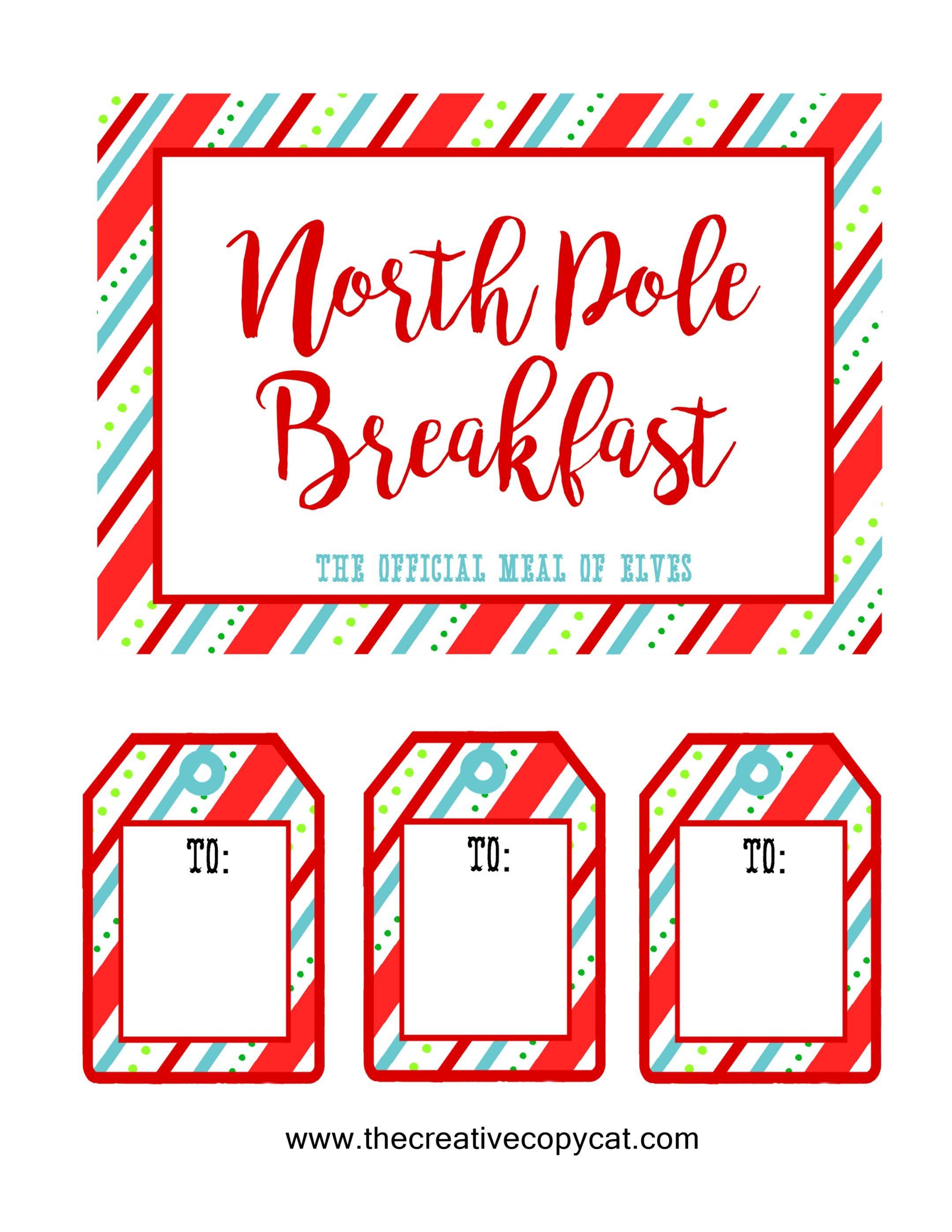 north pole breakfast free printable for elf on the shelf arrival #elfontheshelfarrival