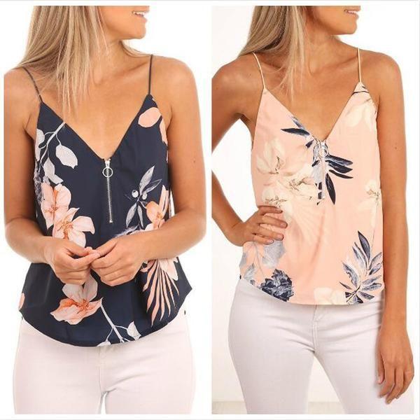 34d9132cc98f0 Crop Top Women 2019 Summer Print Vest Sleeveless Shirt Casual Tank ...