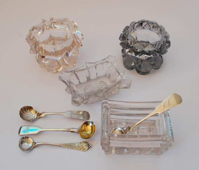 MASTER SALT CELLARS AND SALT SPOONS   Pressed Glass Salts And Sterling  Silver Spoons C. Awesome Ideas