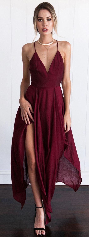 b990e7ffbeff sexy burgundy chiffon spaghetti strap prom dress with split, fashion burgundy  v-neck party dress with split