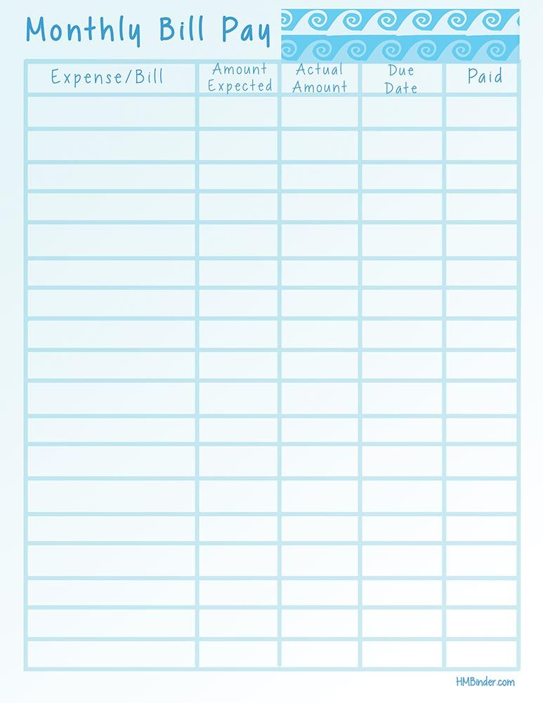 Printable Bill Chart Home  Clipart Library
