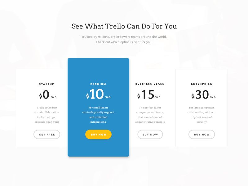 Free Psd Trello Plans And Pricing By Mahima How To Plan Free