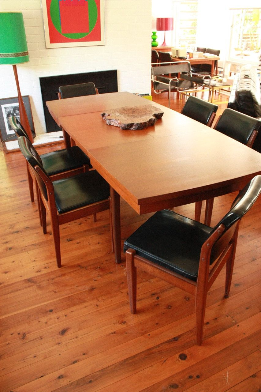 Wrightbilt Teak Dining Table And Six Chairs Mid Century By Tribecasvintage On Etsy Dining Table Mid Century Chair