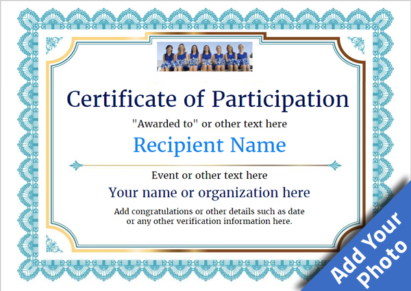 Participation Certificate Templates Free Printable Add For Certificate Of Participation Template Certificate Of Achievement Template Certificate Templates