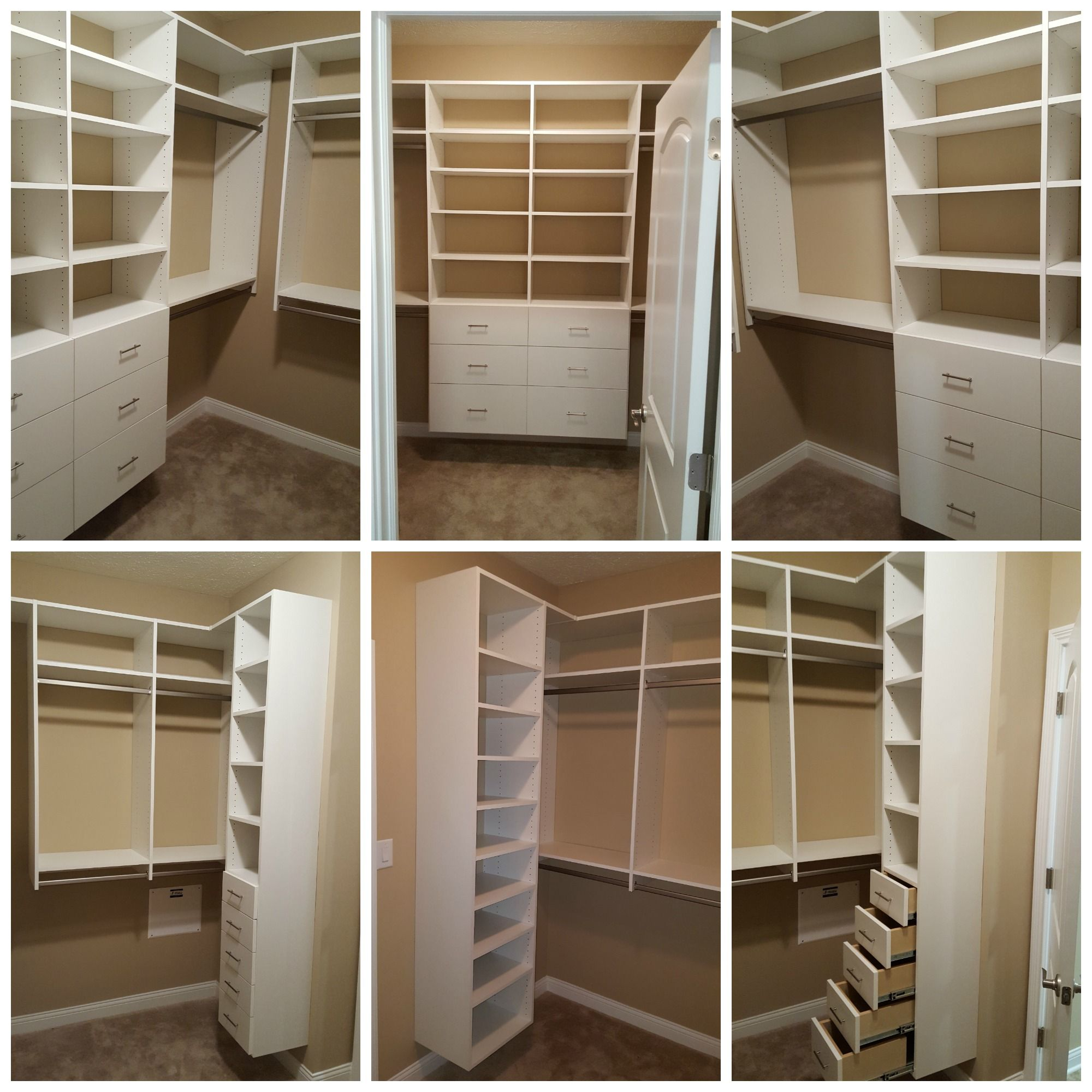 White melamine walk in closet with double hang drawers for Walk in closet white