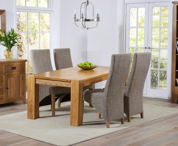 Shop The Yateley Oak Dining Table With Henley Fabric Chairs At Furniture Superstore Quick Delivery APR Available