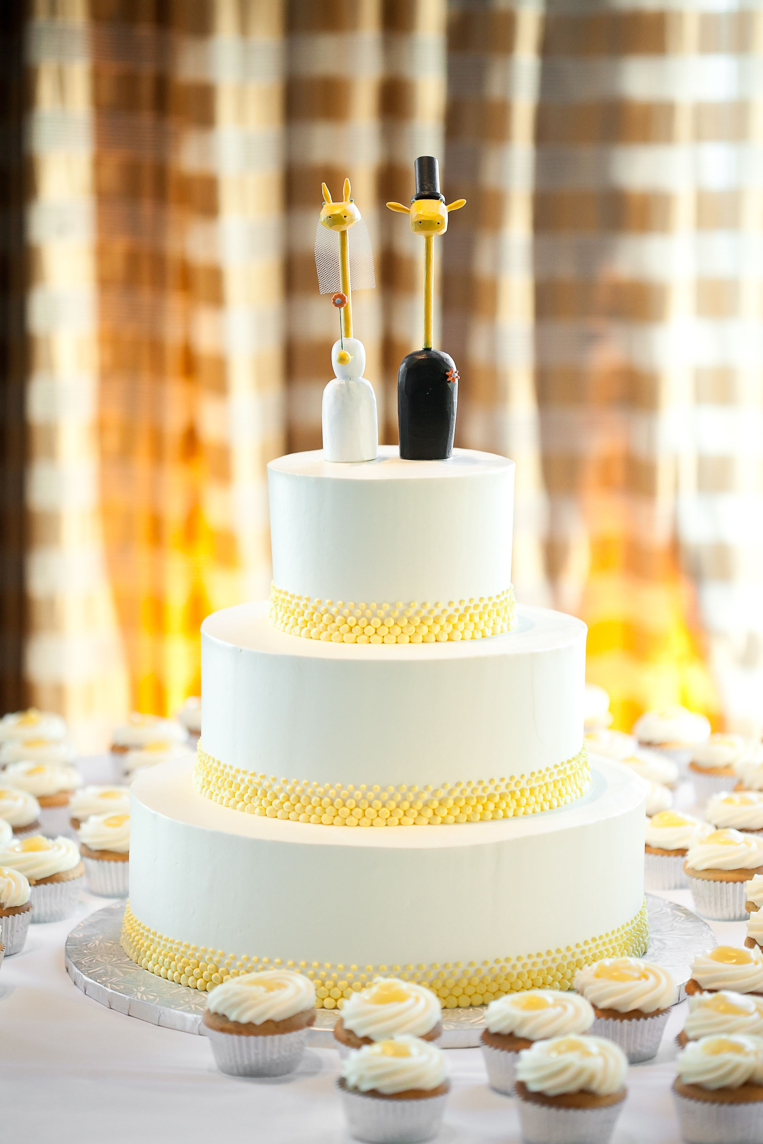 Minimalist Cake With Quirky Cake Toppers Wedding Bells
