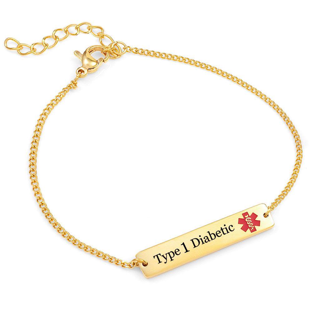 Type 1 Diabetic Gold Bar Bracelet Diabetic Bracelets Gold Bar Bracelet Bar Bracelets