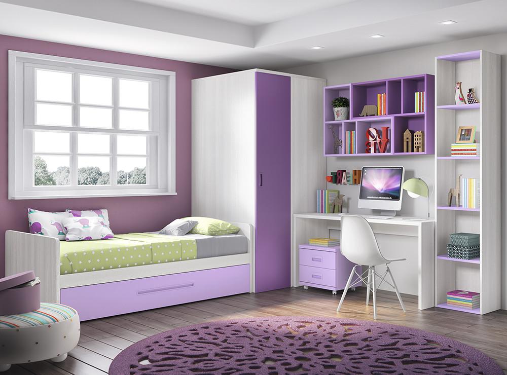 Mueble melamina blanco y lavanda muebles de melamina - Habitacion juvenil nina ...