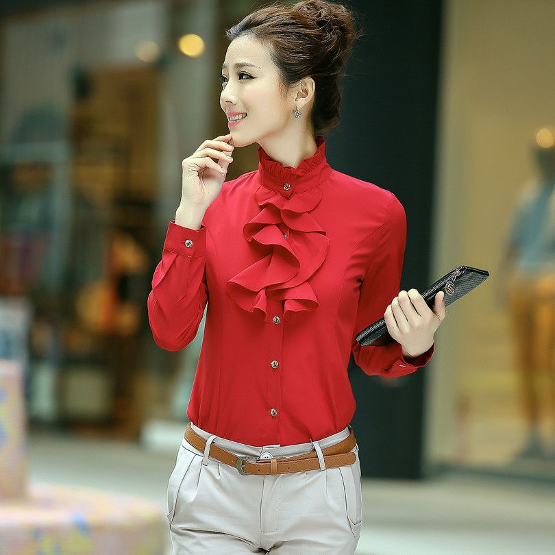 Women Plus Size Blouses Office Wear Long Sleeve Red Ruffles Formal ...
