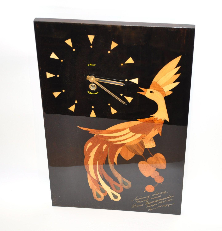 Vintage soviet russian ussr majak mayak wall clock 80s mechanical vintage soviet russian ussr majak mayak wall clock 80s mechanical marquetry wood handcraft amipublicfo Images