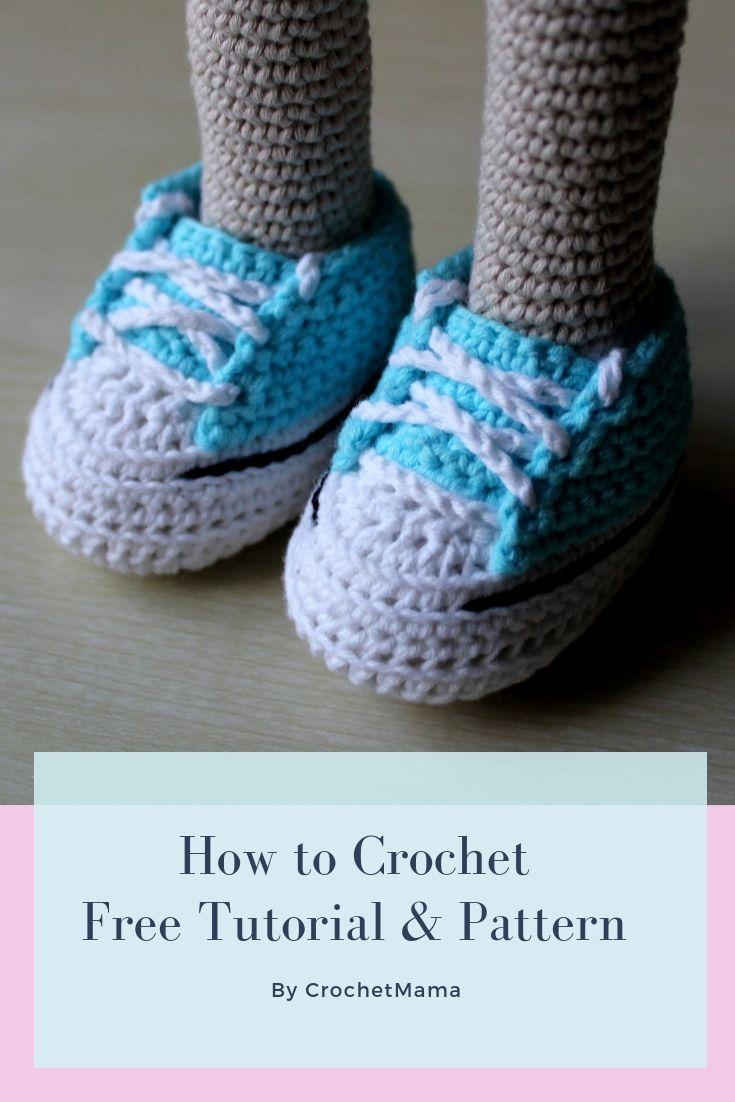 Crochet Doll Part 1 - Sneakers & Legs - Free Tutorial & Pattern #amigurumidoll