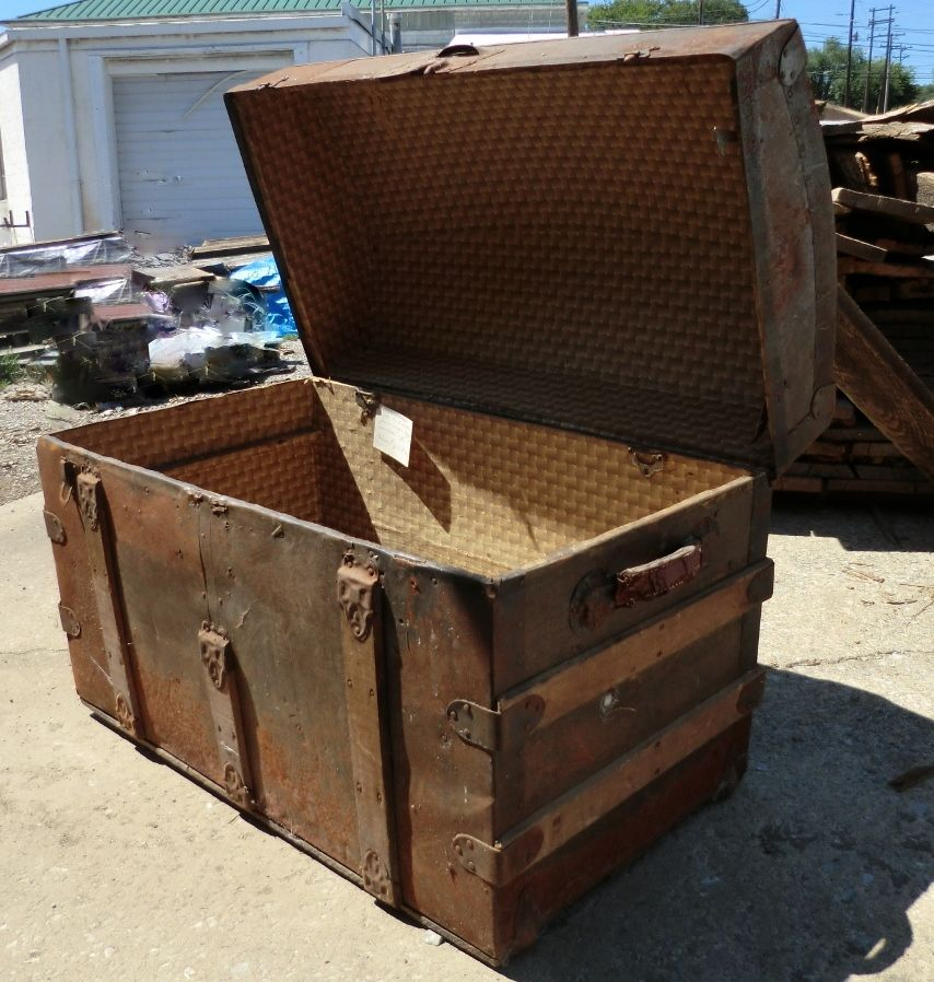 Antique Camel Back Trunk Salvaged And Reclaimed From An Old Farmer