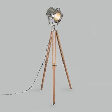 Construct Lámpara pie maderaPlatagris de TRIPOD y cromo HYeD2I9WE