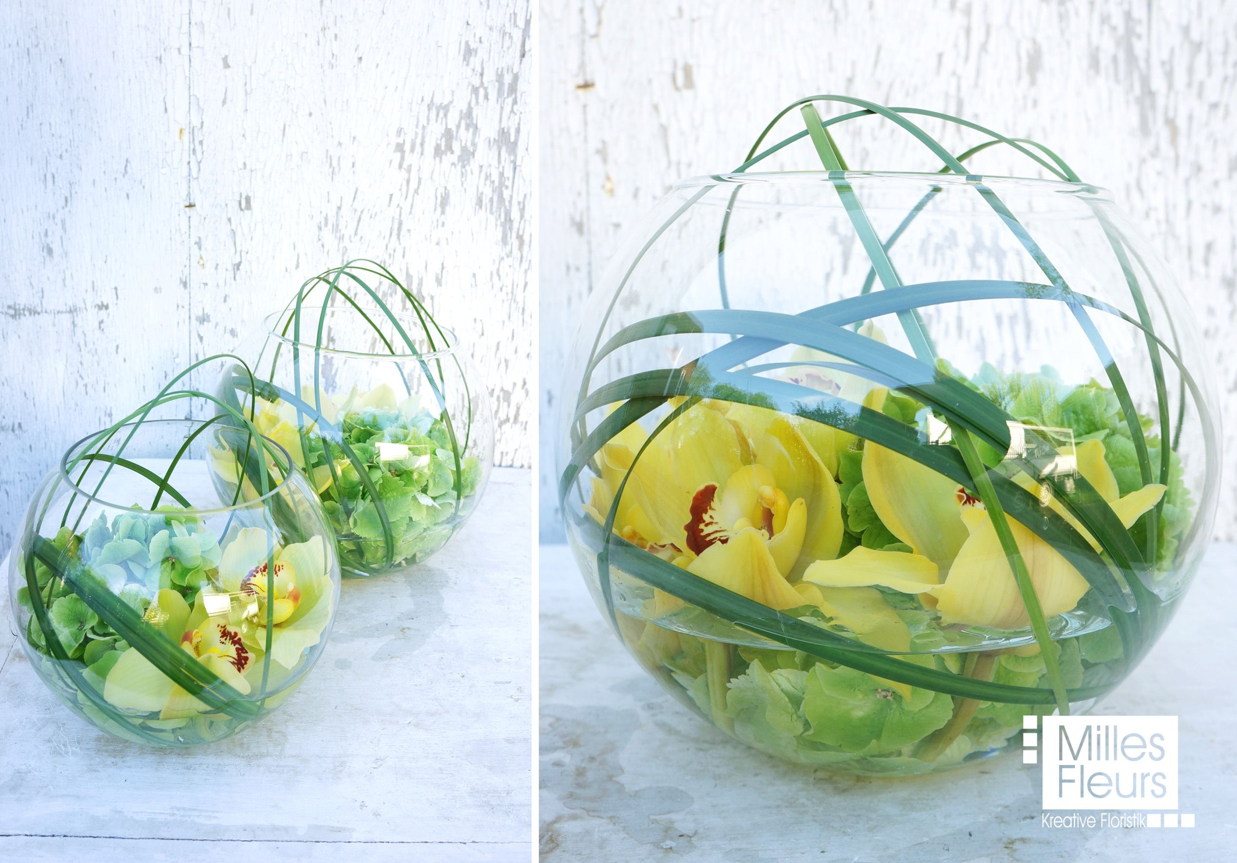 counter dekoration orchideen cymbidien kugelvase glas milles fleurs business pinterest. Black Bedroom Furniture Sets. Home Design Ideas