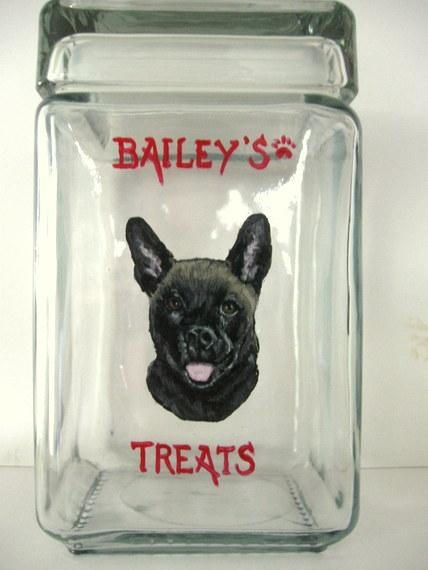 German Shepherd Dog Treat Jar Biscuit Holder Painted Dog Dog