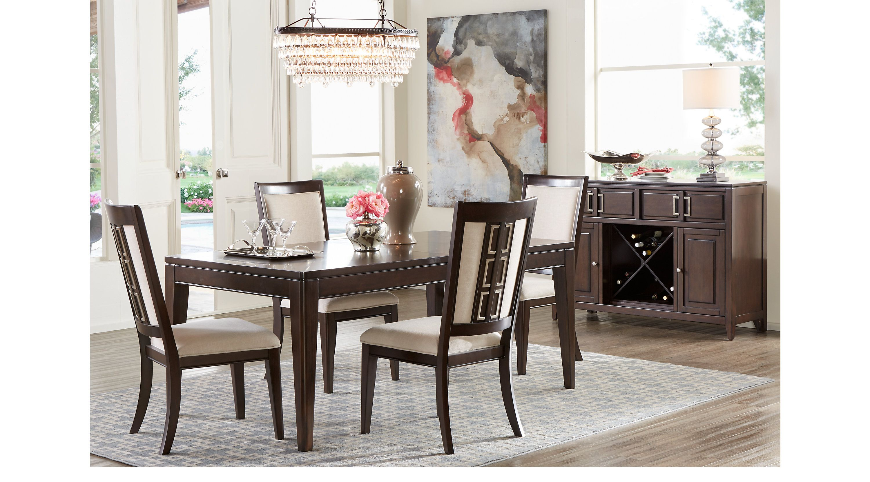 Sofia Vergara Santa Clarita Dark Cherry 5 Pc Dining Room